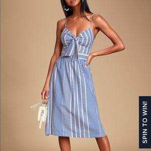 Lush World Wonder Tie Front Striped Midi Dress XS